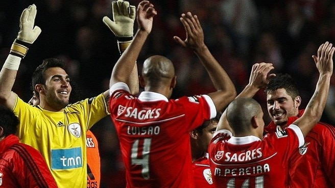 SL Benfica players celebrate victory