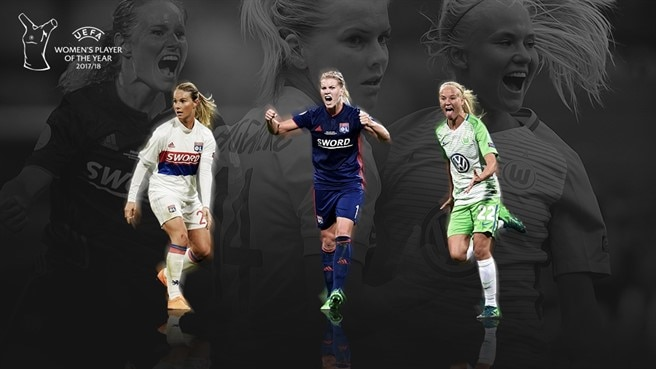 Nomeadas para Jogadora do Ano: Harder, Hegerberg, Henry