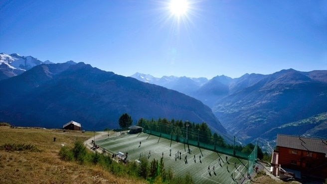 Ottmar Hitzfeld GsponArena in Switzerland, the highest football pitch in Europe at over 2000 metres above sea level